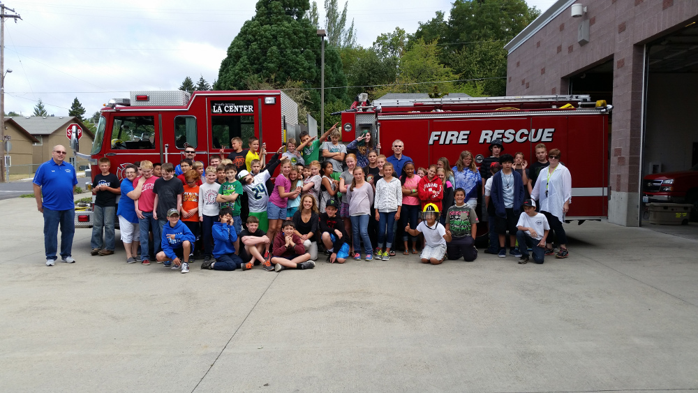 Summer School Students and Fire Engine