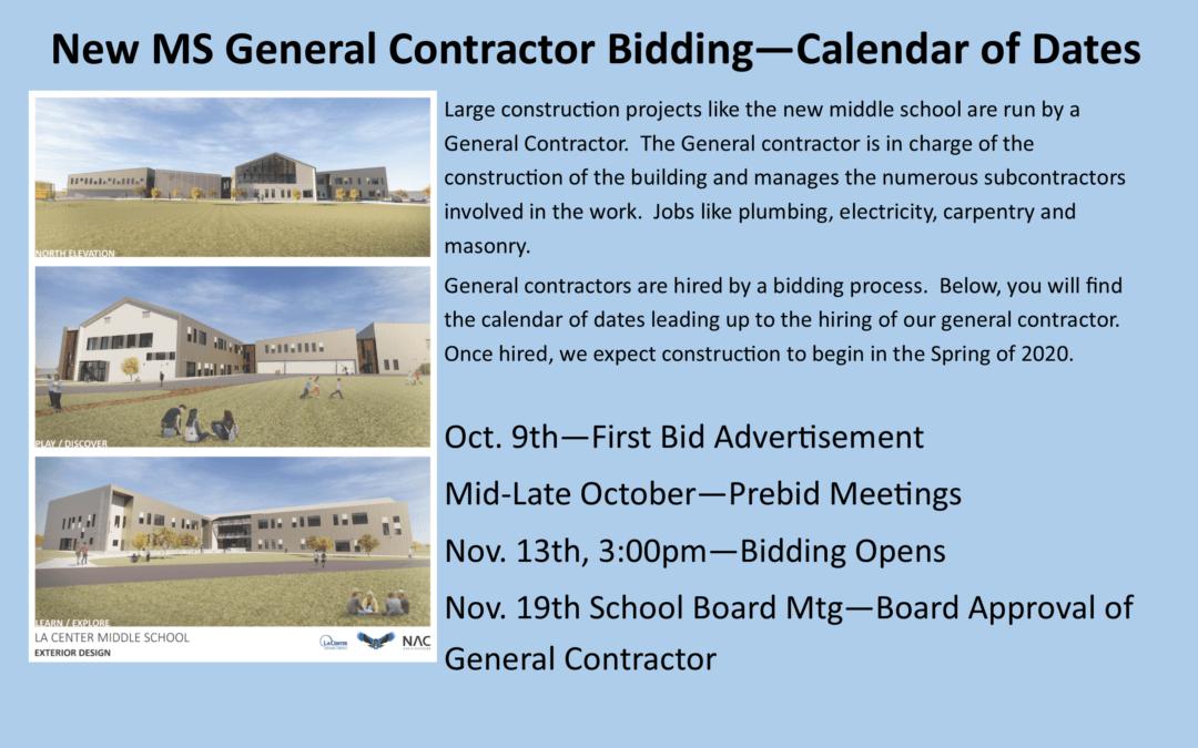 New MS General Contractor Bidding – Calendar of Dates