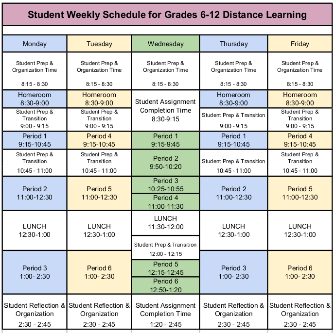 Weekly Distance Learning Schedule Oct.