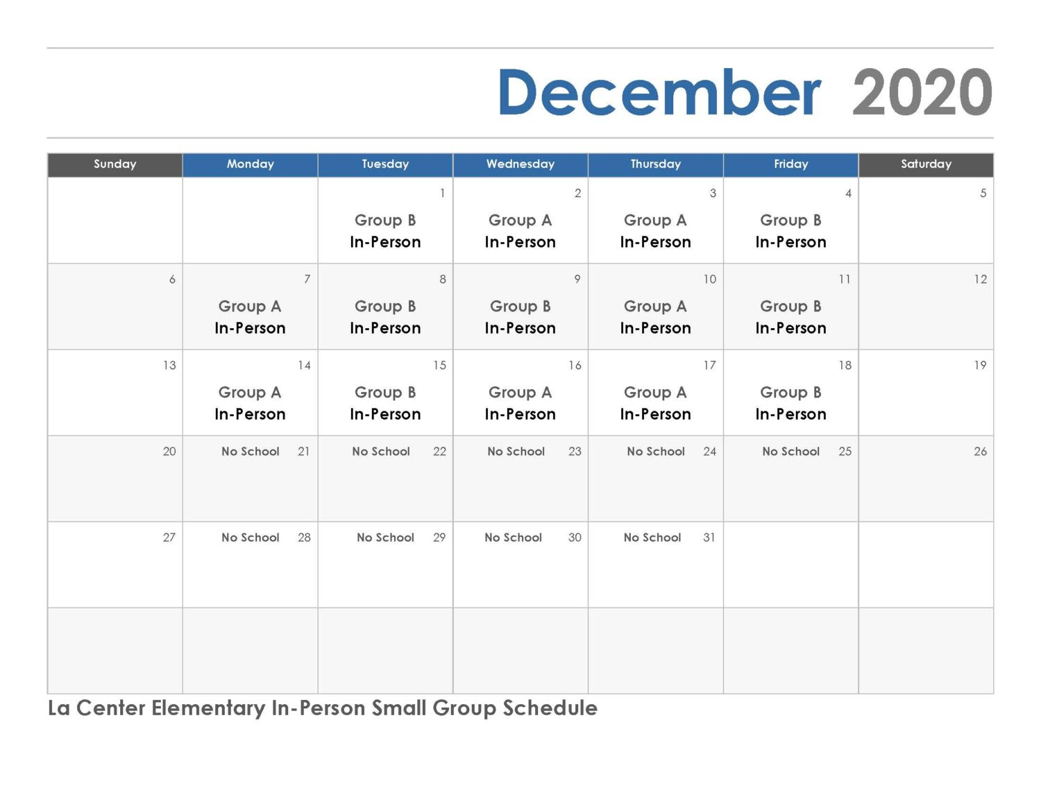 December 2020 IN Person Small Group Schedule. PDF available.
