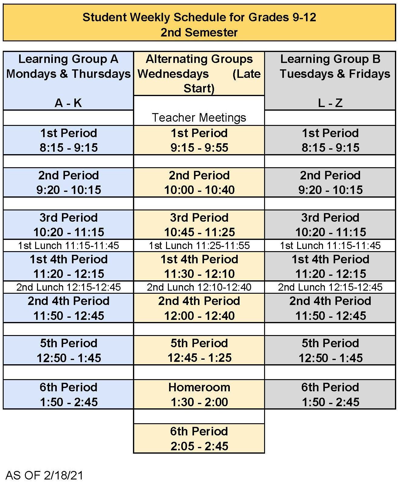 LCHS Weekly Schedule for Grades 9-12 2nd Semester
