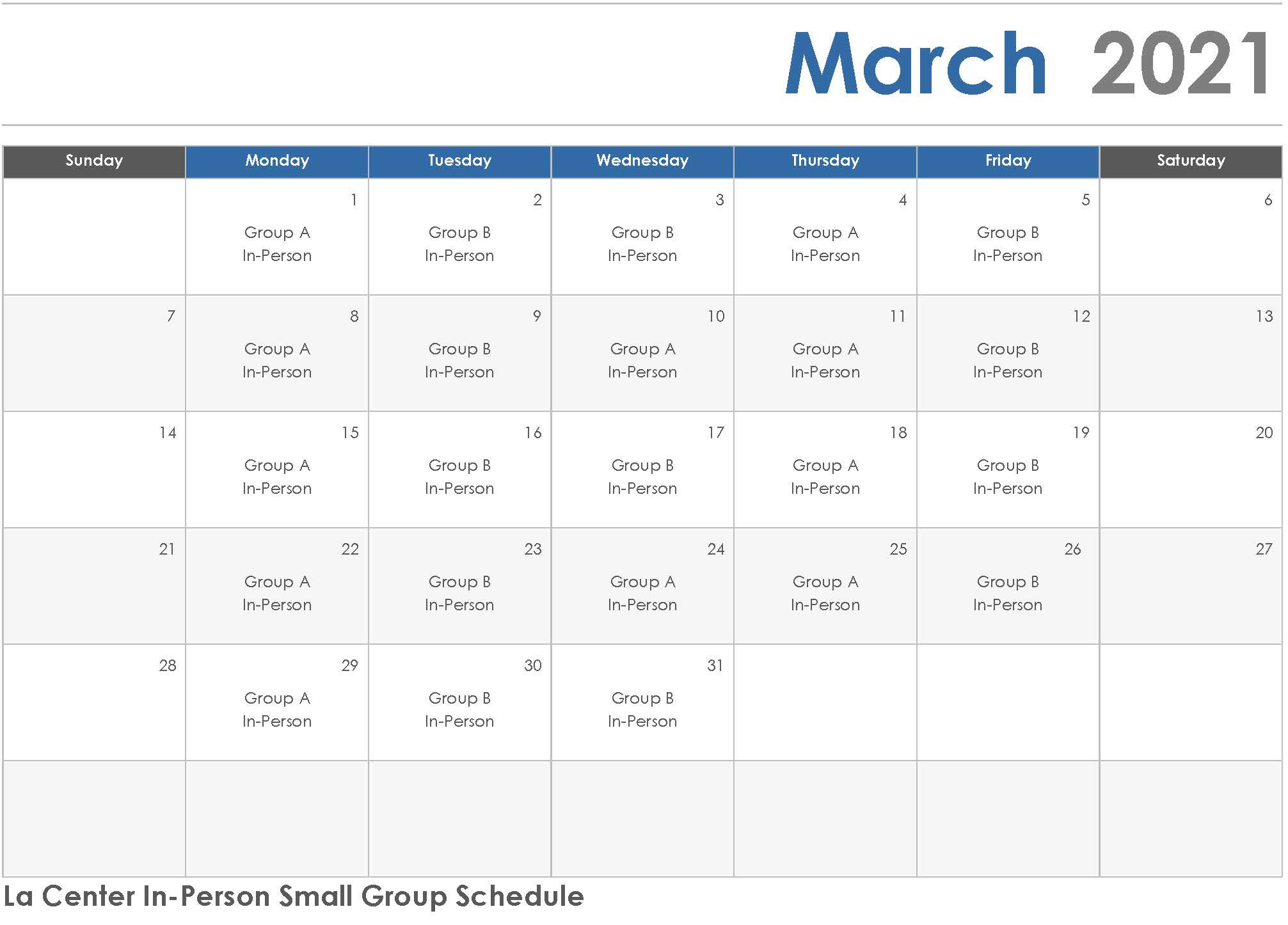 February 2021 Elementary In-Person Small Group Schedule. See Pdf.